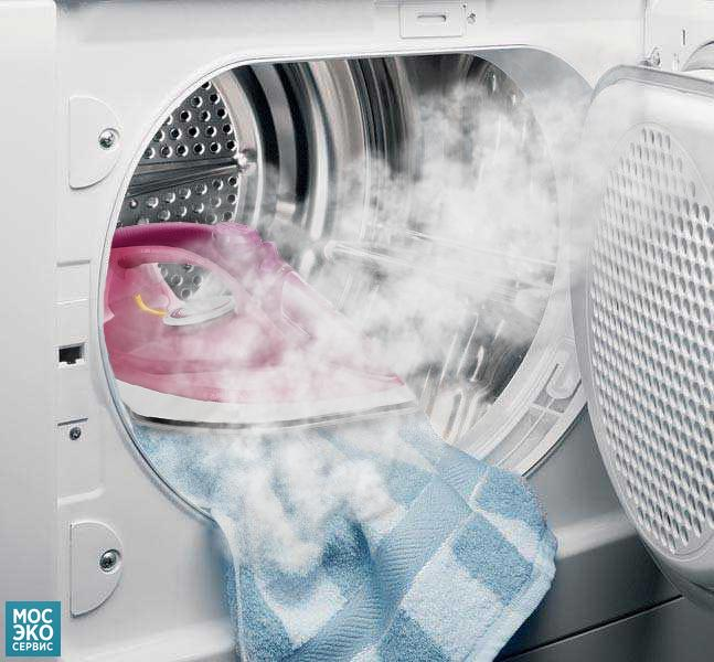 Утюг внутри стиральной машинки