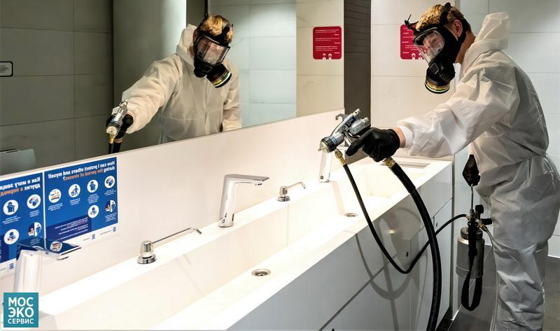 Дезинфекция общественных туалетов в торговом центре