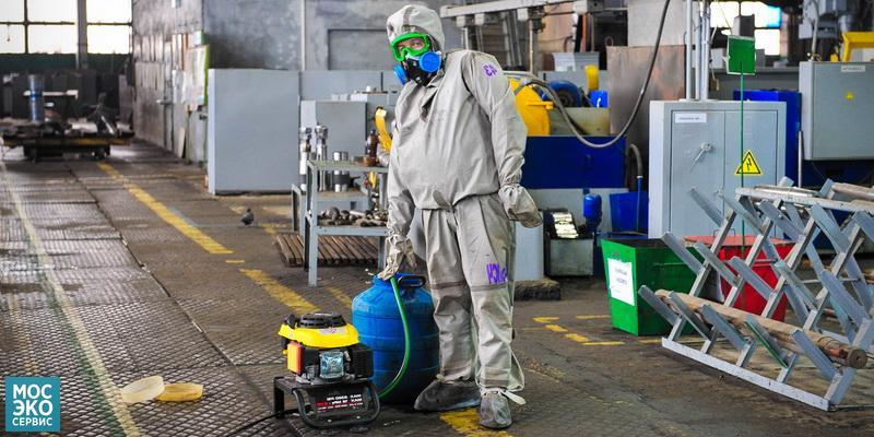Проведение дезинфекции завода